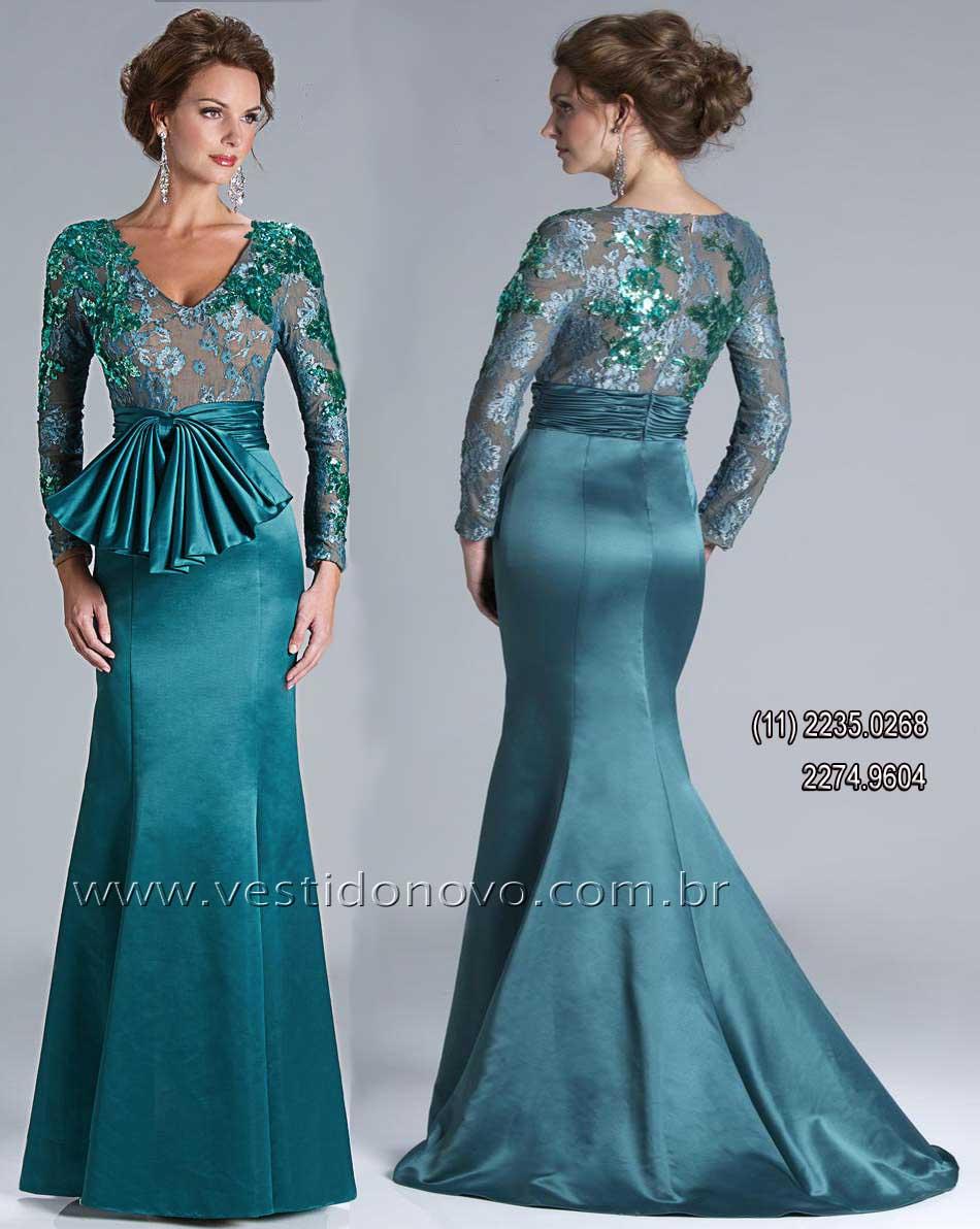 a407af94a994b Vestido verde de festa longo, mãe do noivo, madrinha de casamento,formatura,