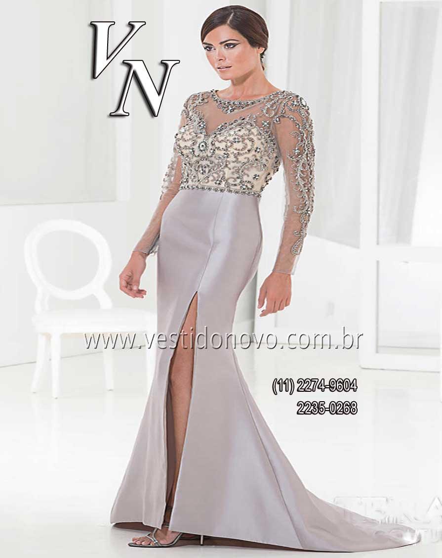 00f0d931d9016 Vestido de festa longo cinza prata, mãe do noivo, madrinha de  casamento,formatura